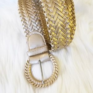 """Golden Braided Belt Wide Faux Leather 42.5"""" XL"""